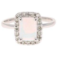 1.21 Carat Opal Diamond 14 Karat White Gold Ring