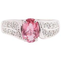 1.21 Carat Padparadscha Sapphire and Diamond Ring Set in Platinum