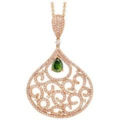 1.21 Carat Pear Green Diamond Pendant