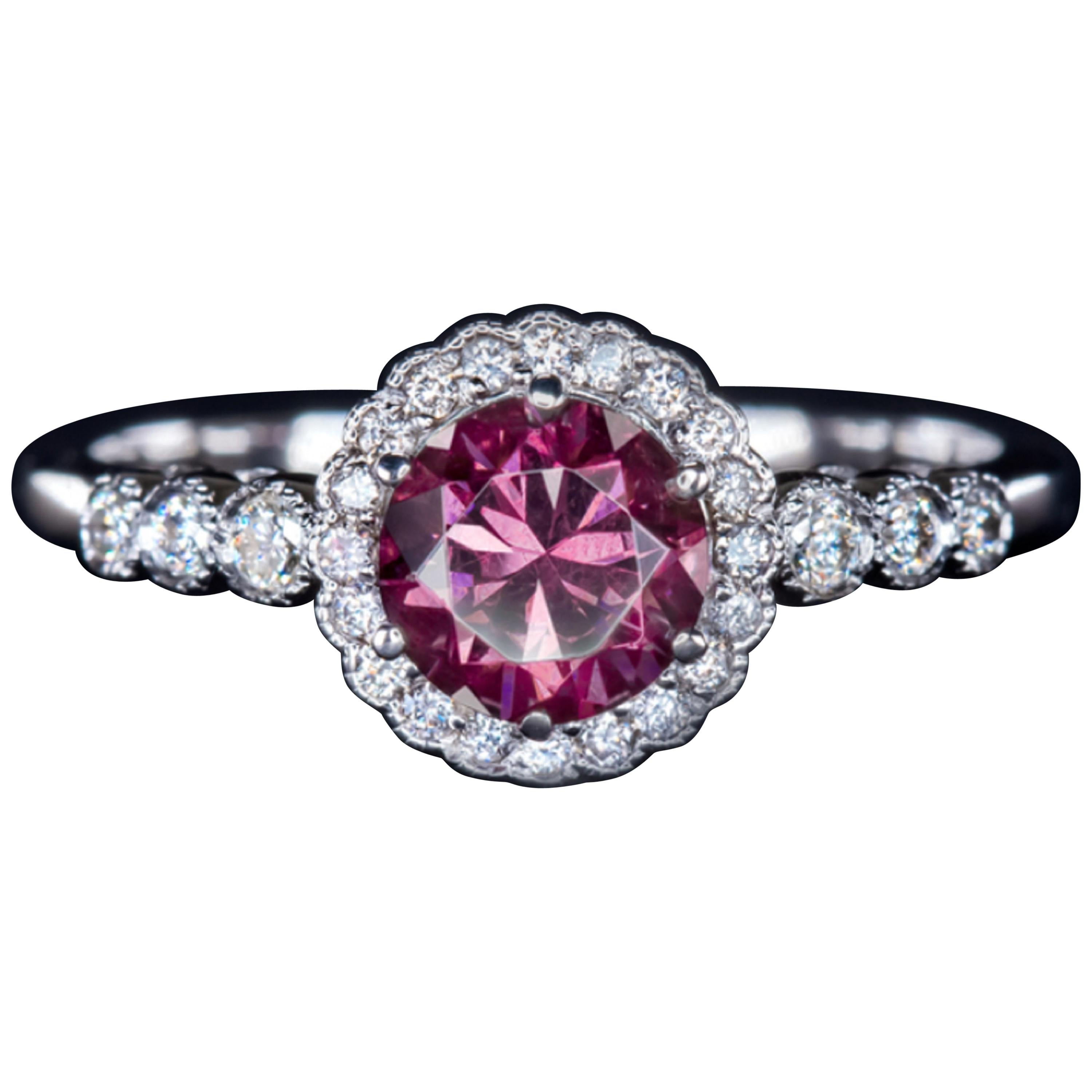 1.21 Carat Pink Rhodolite and Round Diamond White Gold Solitaire Ring
