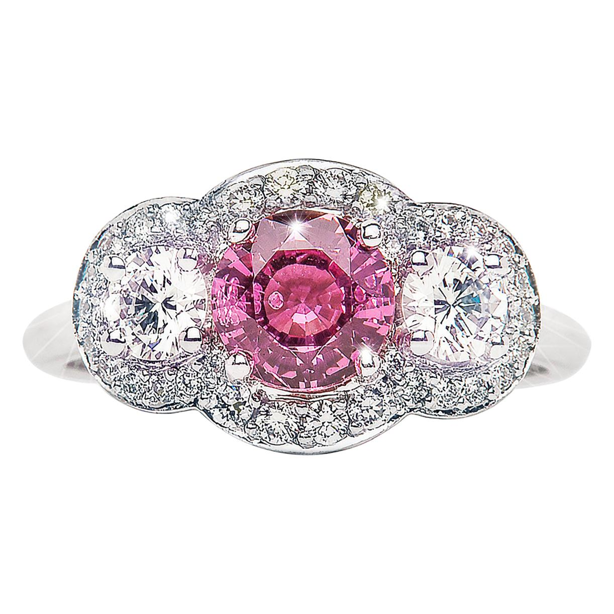 1.21 Carat Pink Tourmaline Round Diamond 3-Stone Cluster Ring Natalie Barney