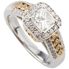 1.21 Carat Princess Cut Diamond Halo Set 14 Karat White and Yellow Gold Ring