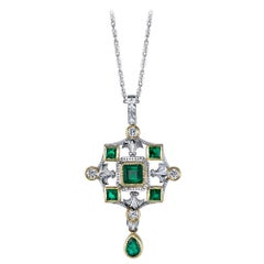 "Emerald & Diamond 18k White, Yellow Gold Drop ""Renaissance"" Pendant Necklace"