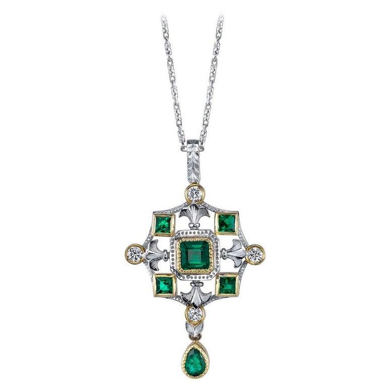"""Emerald & Diamond, White, Yellow Gold Drop """"Renaissance"""" Pendant Necklace  For Sale"""