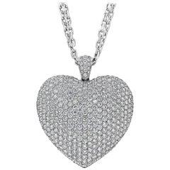 12.10 Carat Diamond Pave Heart Pendant Necklace