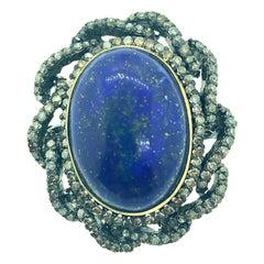 12.10 Carat Lapis 1.35 Carat Diamonds Sterling Silver 14 Karat Gold Ring