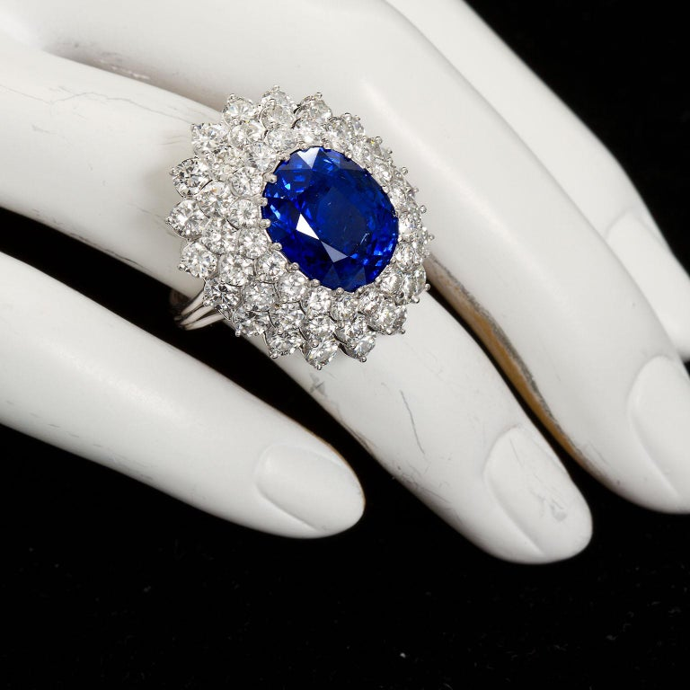 12.10 Carat Burma Unheated Oval Sapphire Diamond Cluster Ring For Sale 5
