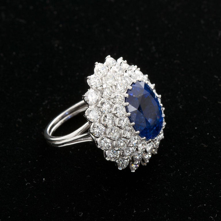 12.10 Carat Burma Unheated Oval Sapphire Diamond Cluster Ring For Sale 3
