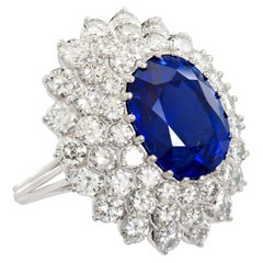 12.10 Carat Burma Unheated Oval Sapphire Diamond Cluster Ring
