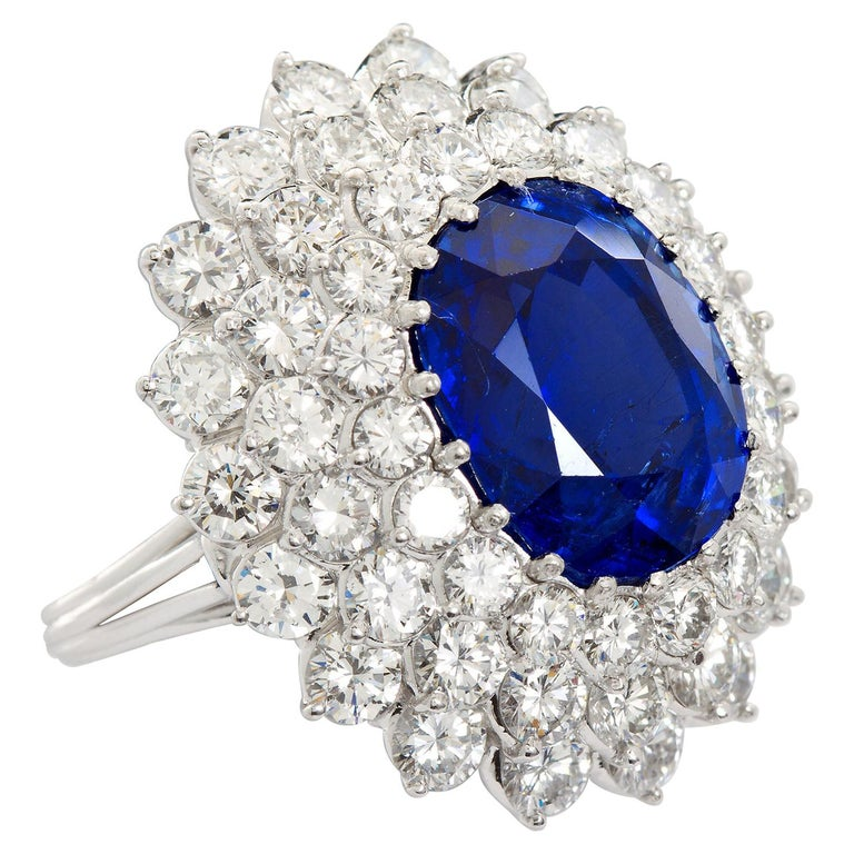 12.10 Carat Burma Unheated Oval Sapphire Diamond Cluster Ring For Sale