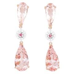 12.10 Carat Pink Morganite, Pink Tourmaline, and Diamond Earrings