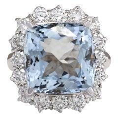 12.11 Carat Aquamarine 18 Karat White Gold Diamond Ring