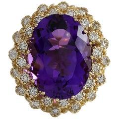 12.11 Carat Natural Amethyst 18 Karat Yellow Gold Diamond Ring