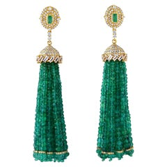 121.17 Carat Emerald Diamond 18 Karat Gold Chandelier Drop Tassel Earrings
