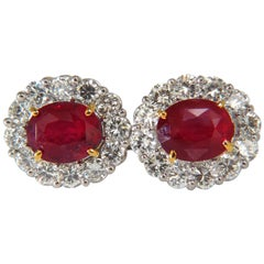 12.12 Carat GRS No Heat Oval Vivid Red Ruby Diamond Cluster Earrings Winza