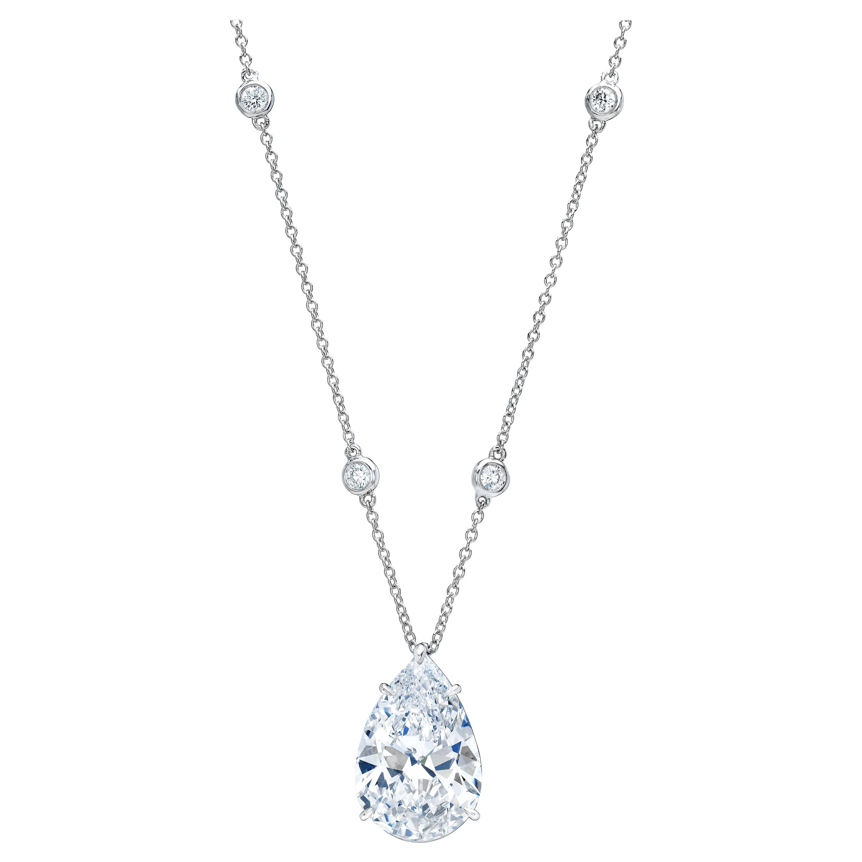12.12 Carat Pear-Shaped Diamond Pendent GIA Certified
