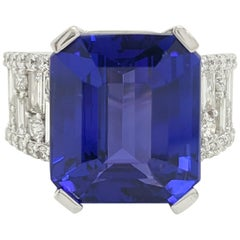 12.12 Carat Tanzanite and Diamond Cocktail Ring in 18 Karat White Gold