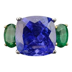 12.12 Carat Tanzanite Cushion and Emerald Cocktail Ring