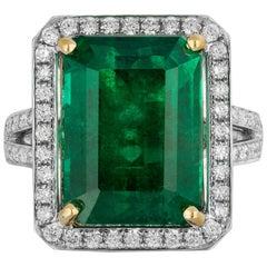 12.12 Carat Zambian Emerald Diamond Ring