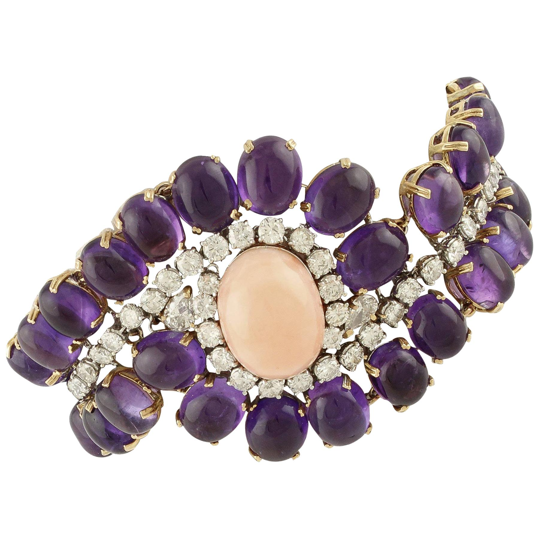 Amethysts, Diamonds, Oval Shape Pink Coral, Rose and White Gold Bracelet