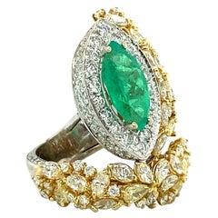 12.15 Ct Yellow Diamond & Emerald Multi-Shape Ring, Effe Italy 18kt Gold