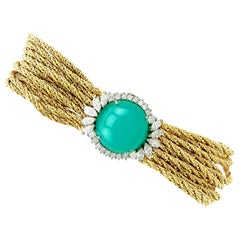 12.16 Carat Chrysoprase and 2.42 Carat Diamond Yellow Gold Bracelet
