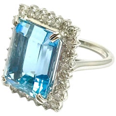 12.16 Carat Emerald Cut Aquamarine and Diamond Platinum Ring