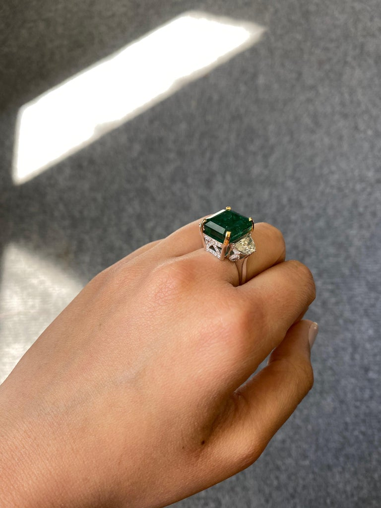Emerald Cut 12.17 Carat Emerald and Diamond Three-Stone Engagement Ring For Sale
