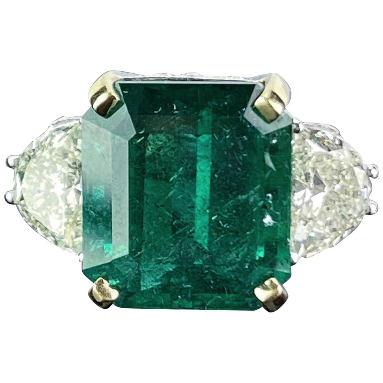 12.17 Carat Emerald and Diamond Three-Stone Engagement Ring