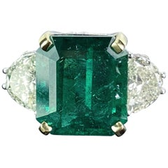 12.17 Carat Emerald and Diamond Three-Stone Engagement Ring