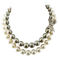121g White and Grey South Sea Pearls, Diamonds, 14 Karat White Gold Necklace