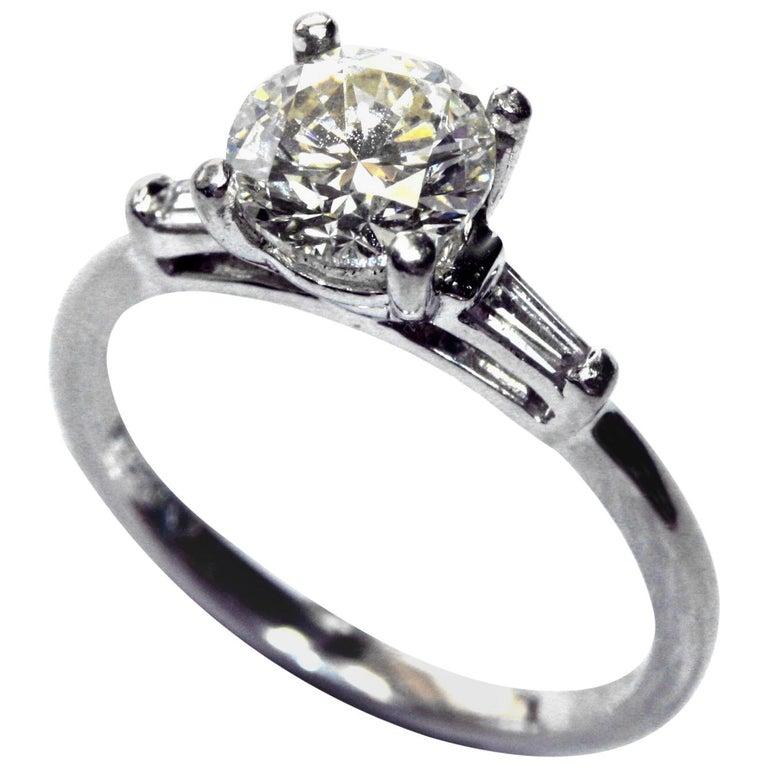 1.22 Carat Brilliant Cut Diamond Platinum Engagement Ring For Sale