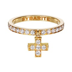 Sybarite Jewellery Cross Band Ring 18 Karat Gold 1.22 Carats White Diamonds