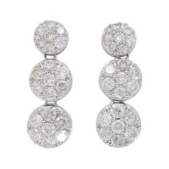 1.22 Carat Diamond Dangle Drop Earrings in 18 Karat White Gold