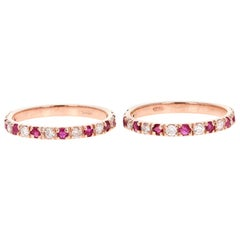 1.22 Carat Diamond Ruby Rose Gold Stackable Bands