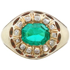 1.22 Carat Emerald and Diamond Yellow Gold Cocktail Ring