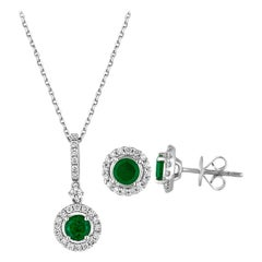 1.22 Carat Emerald Diamond Gold Halo Pendant and Earrings Set