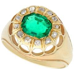 1.22 Carat Emerald Diamond Yellow Gold Cocktail Ring