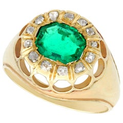 1.22 Carat Emerald Diamond Yellow Gold Cocktail Ring