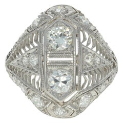 1.22 Carat European Cut Diamond Art Deco Ring, Platinum Vintage