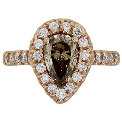 1.22 Carat Fancy Brown Pear Shape Diamond Ring