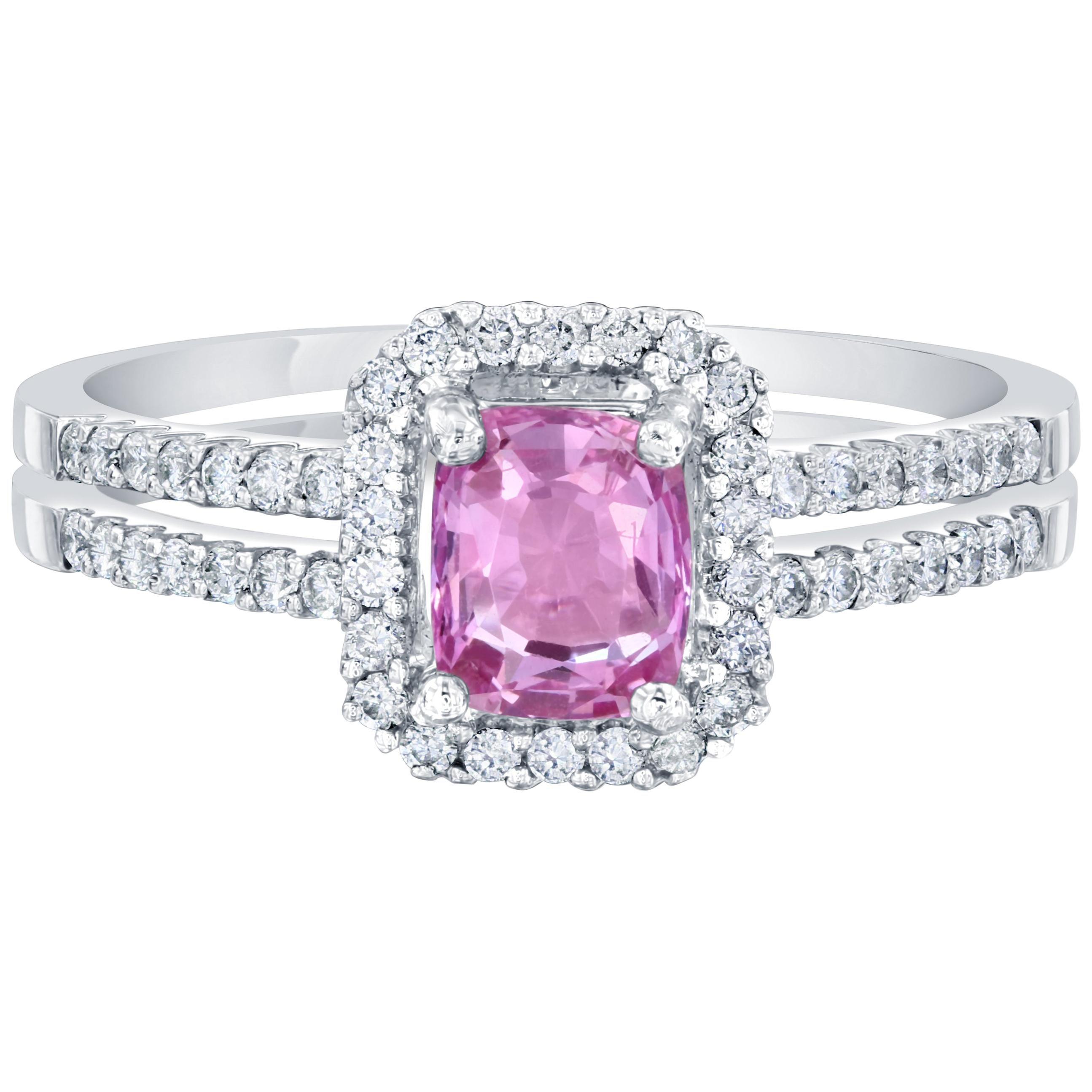1.22 Carat GIA Certified Pink Sapphire Diamond Ring 14 Karat White Gold