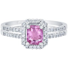 1.22 Carat GIA Certified Pink Sapphire Diamond Ring 14 Karat White Gold