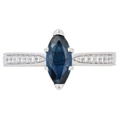 1.22 Carat Marquise Cut Sapphire and Diamond Ring 14 Karat Gold Etched Milgrain