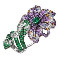 12.2 Carat Multi-Color Sapphire Emerald Diamond 18K Gold Full Finger Floral Ring