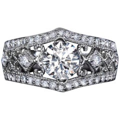 1.22 Carat Natural Diamond Engagement Ring Wide Band, F Color and SI Clarity