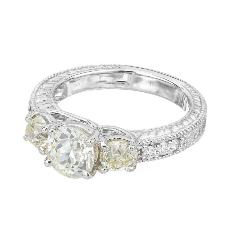 Modern 1.22 Carat Old European Cut Three-Stone Diamond White Gold Engagement Ring For Sale