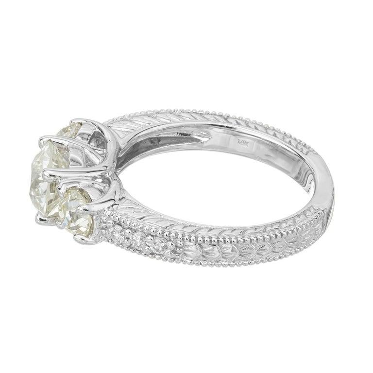 Women's 1.22 Carat Old European Cut Three-Stone Diamond White Gold Engagement Ring For Sale