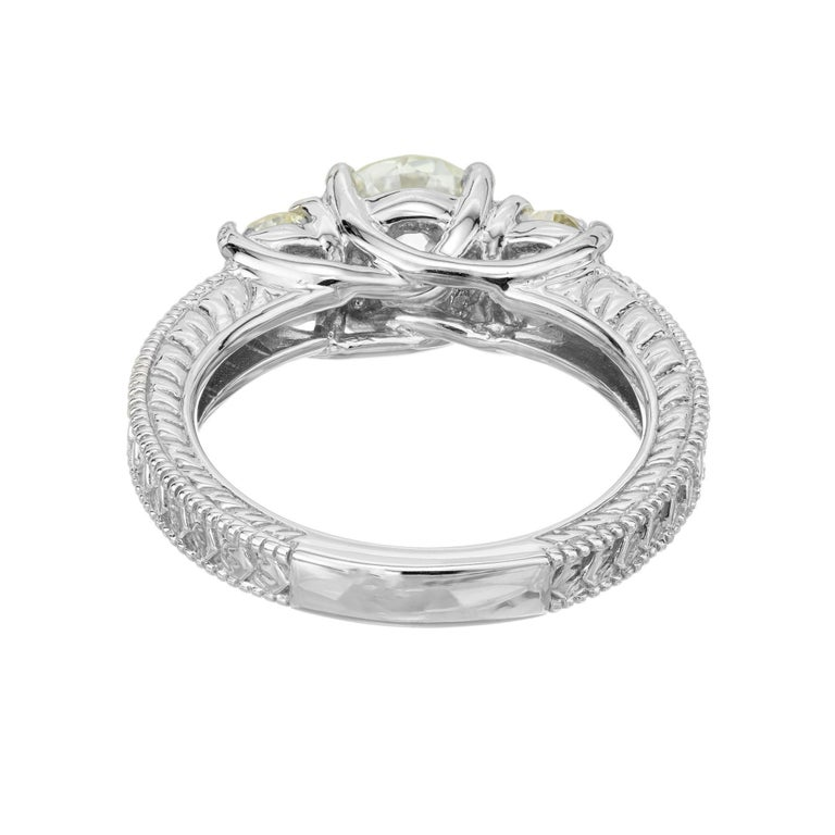 1.22 Carat Old European Cut Three-Stone Diamond White Gold Engagement Ring For Sale 1