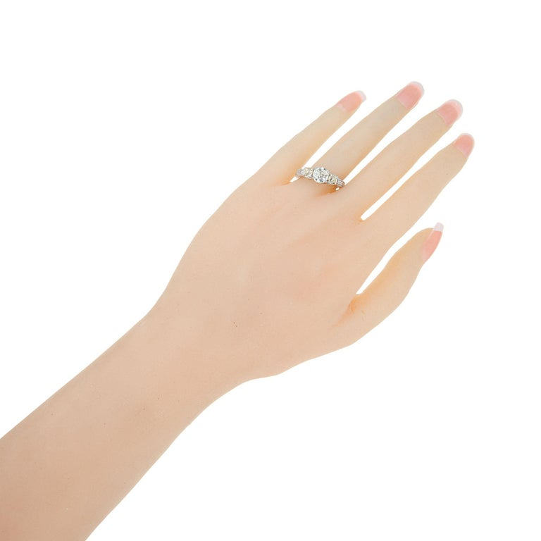 1.22 Carat Old European Cut Three-Stone Diamond White Gold Engagement Ring For Sale 3